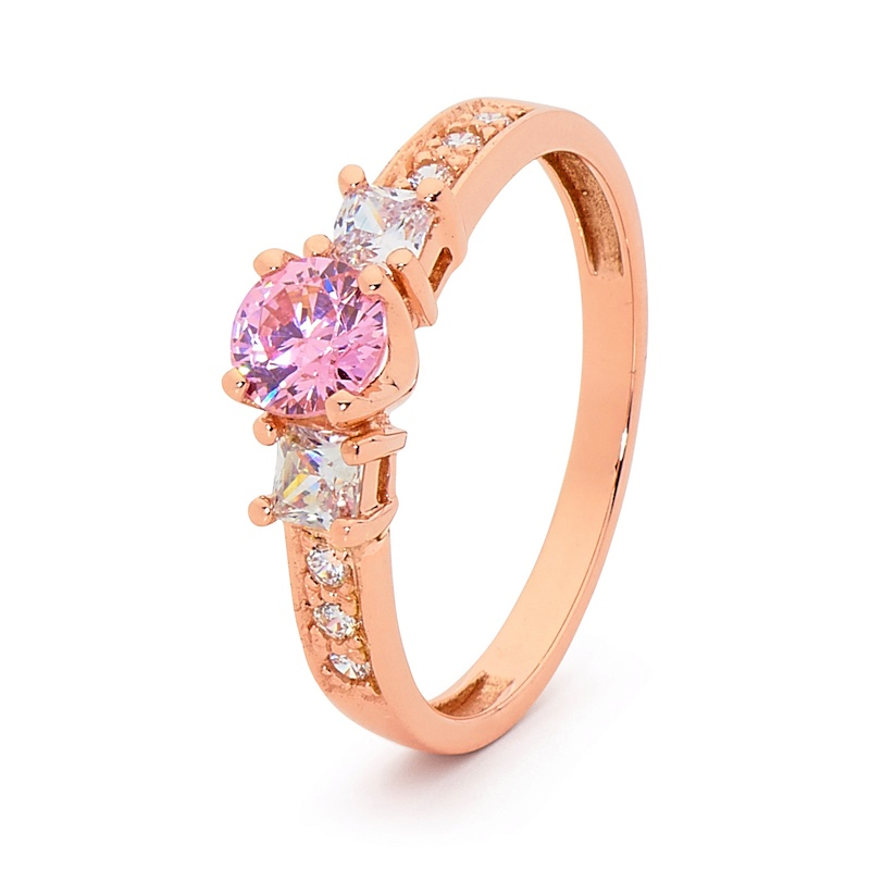 Pink Gold Engagement ring with Cubic Zirconia