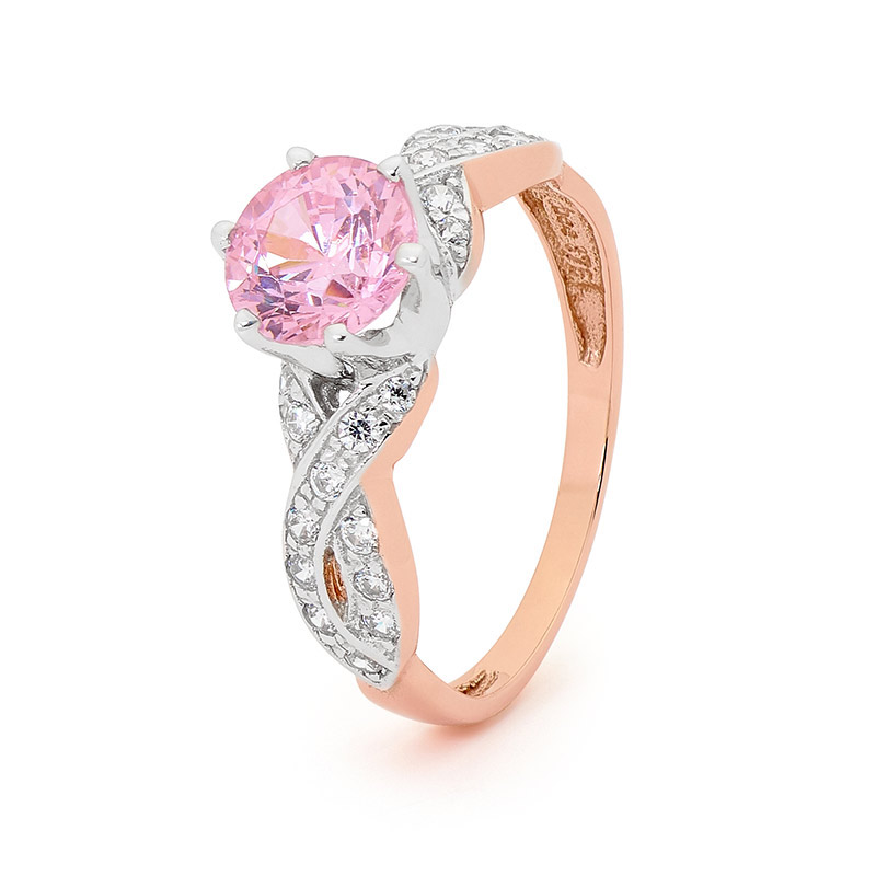 Pink Zirconia Solitaire Ring