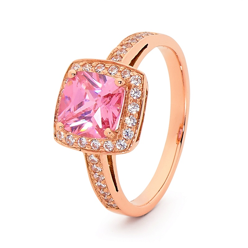 Pink Gold Cocktai Ring with Coloured CZ