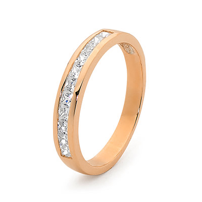Rose Gold Anniversary Ring with CZ