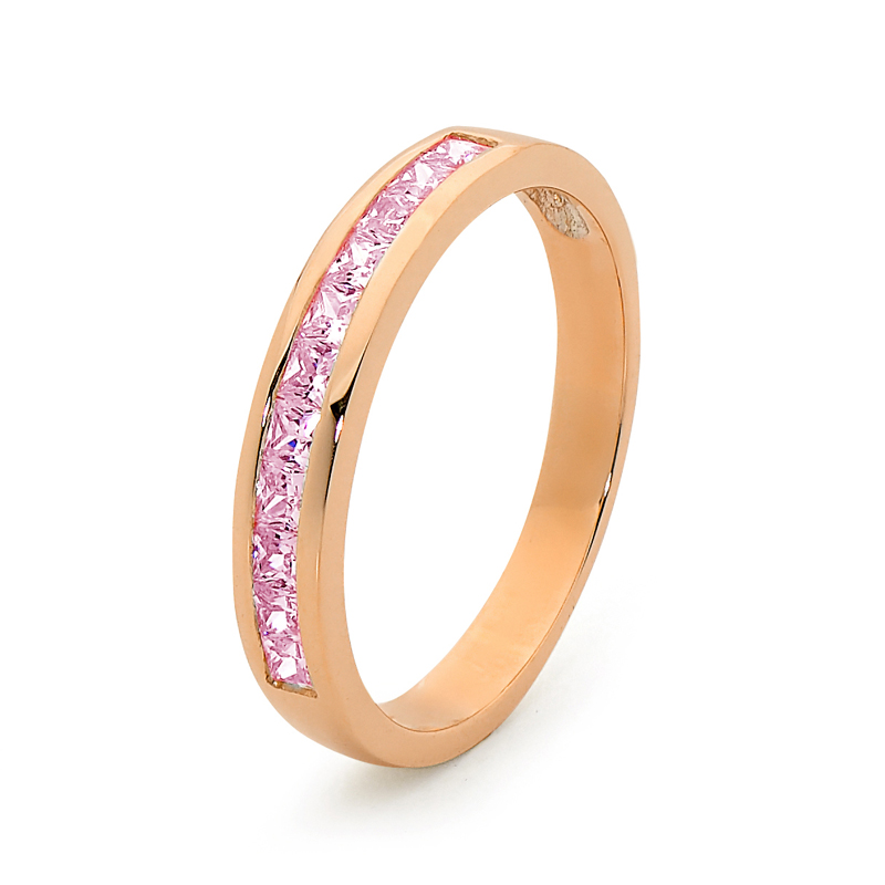 Pink CZ in Pink Gold Anniversary Ring