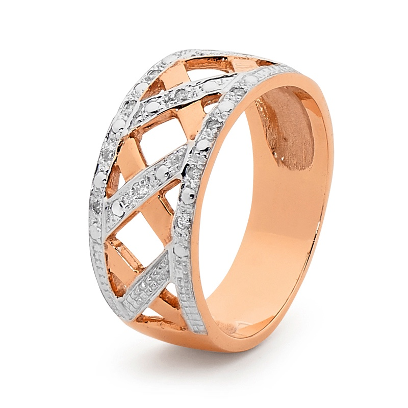 Diamond Set Rose Gold Plait Ring