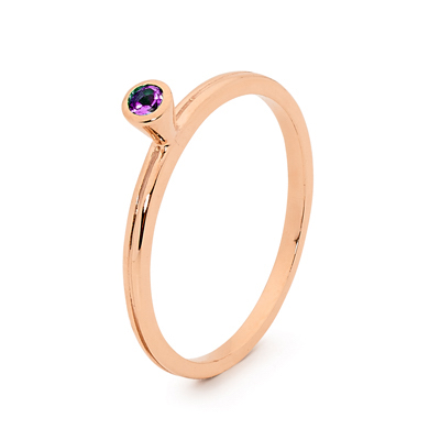 Mix & Match Rose Gold Ring with Amethyst