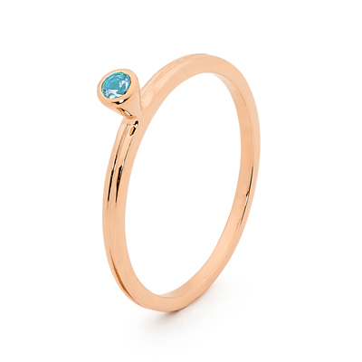 Mix & Match Rose Gold Ring with Blue Topaz