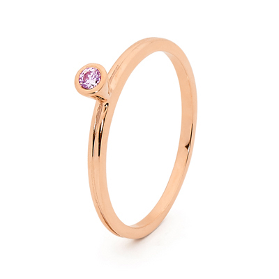 Mix & Match Rose Gold Ring with Pink CZ