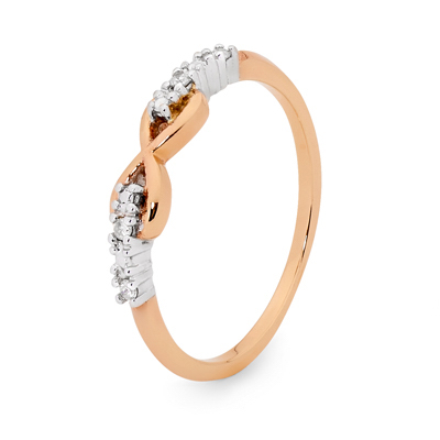 Rose Gold Infinity Ring with Diamonds