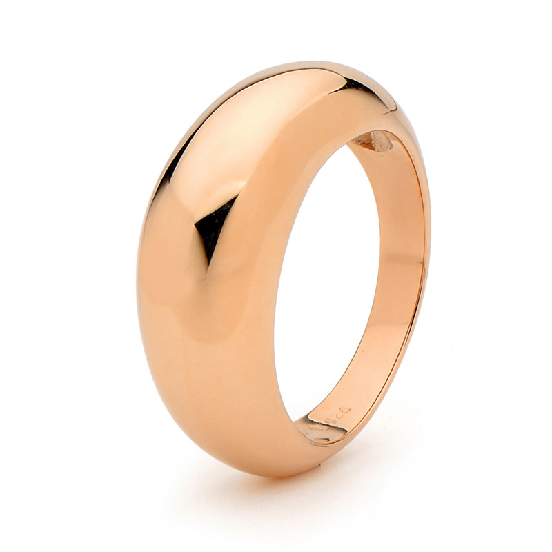 Gold Ring - Tall Dome - Rose Gold