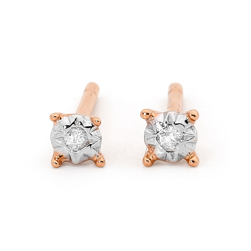 Rose Gold Diamond Studs TDW 0.02 ct.