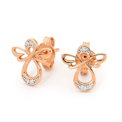 Rose Gold Angel Earrings with Diamond