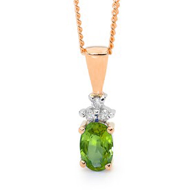 Peridot and Diamond Rose Gold Pendant