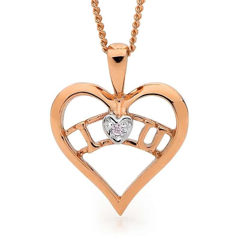I Love You Pendant in Pink Gold