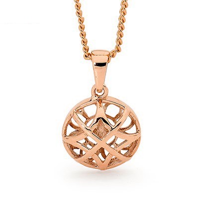 Rose Gold Basket Weave Pendant