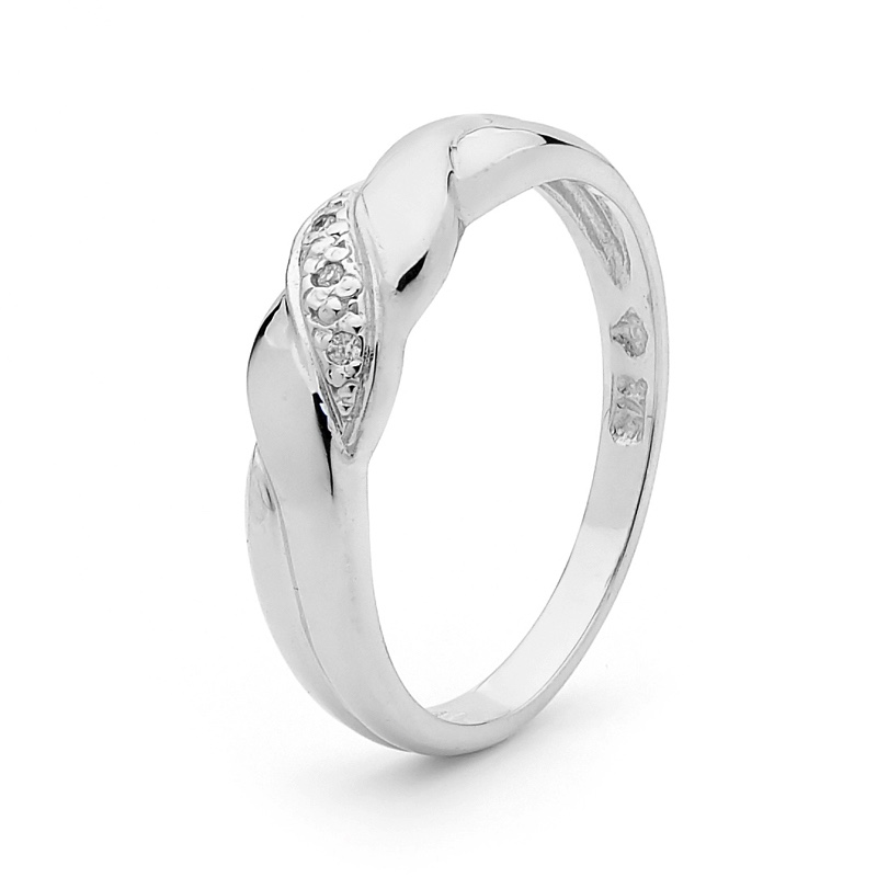 Twisted Band White Gold Ring with Diamonds
