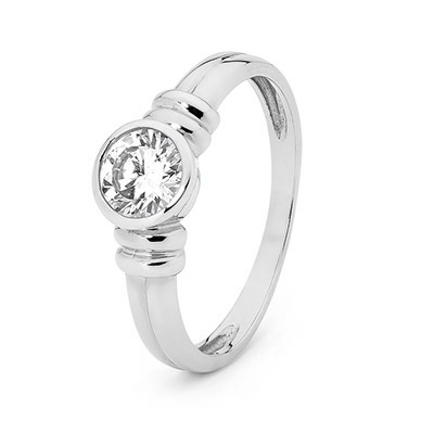 Cubic Zirconia Engagement Ring - Bezel Setting - White Gold
