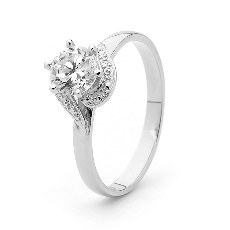 Cubic Zirconia Ring - White Gold Engagement Style