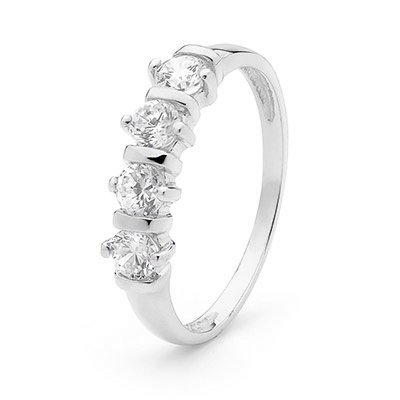"Zirconia Eternity Ring ""White Gold"""