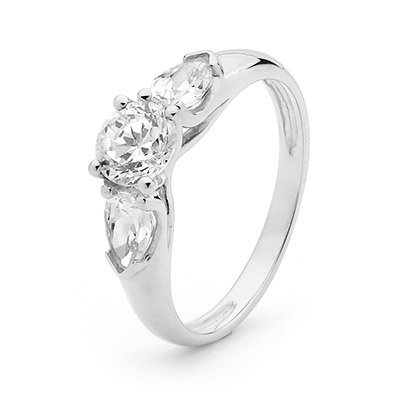Cubic Zirconia ring - White Gold Three Stone