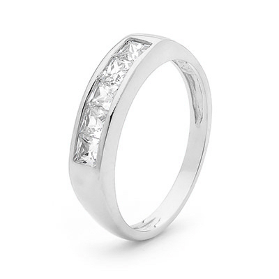 Cubic Zirconia Ring - Princess Cut - White Gold