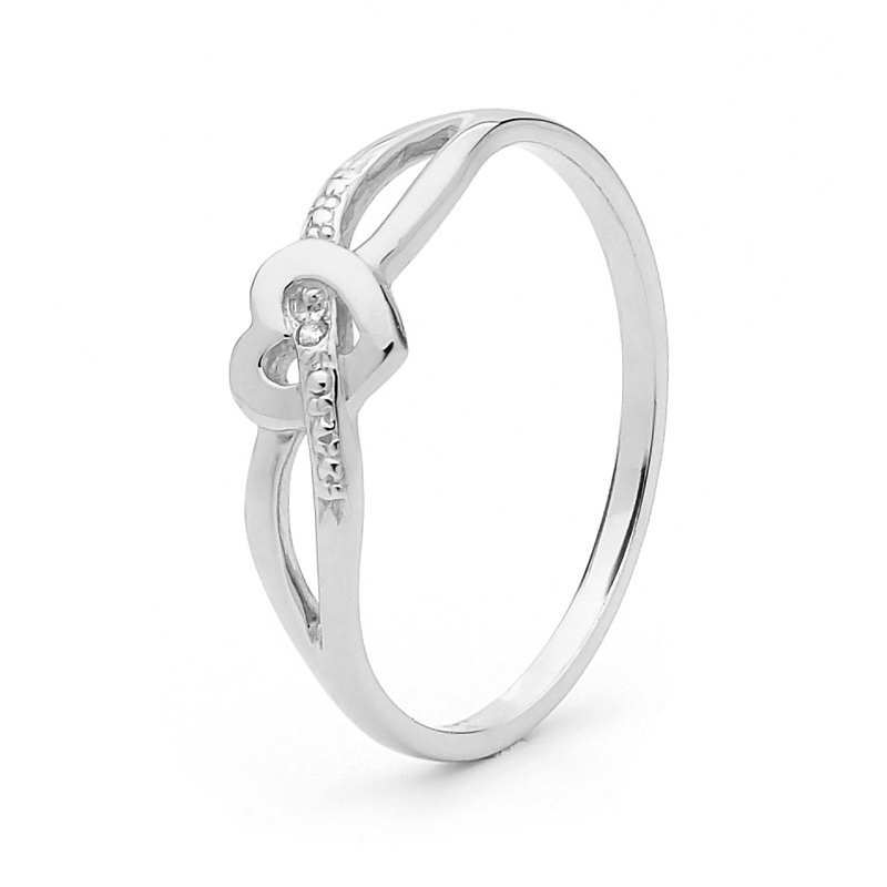 White Gold Diamond Ring with Love Heart
