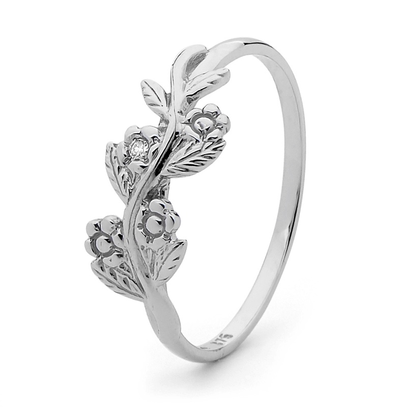 White Gold Forget Me Not Ring