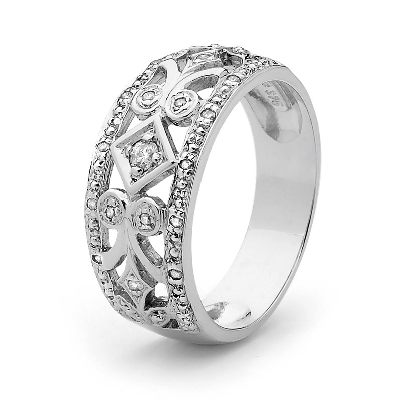 Diamond Set Right Hand Ring - White Gold