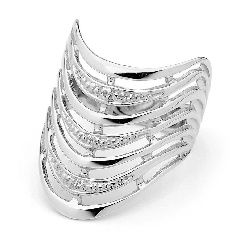 White Gold Seven Wishes Ring with Diamonds