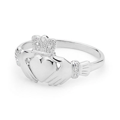 White Gold Irish Claddagh - Diamond Set