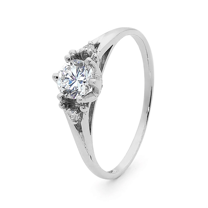 White Gold Cubic Zirconia Coronet Ring