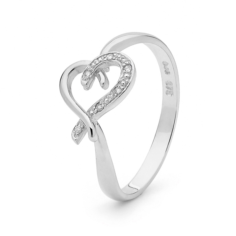 Diamond Set Love Ring in White Gold