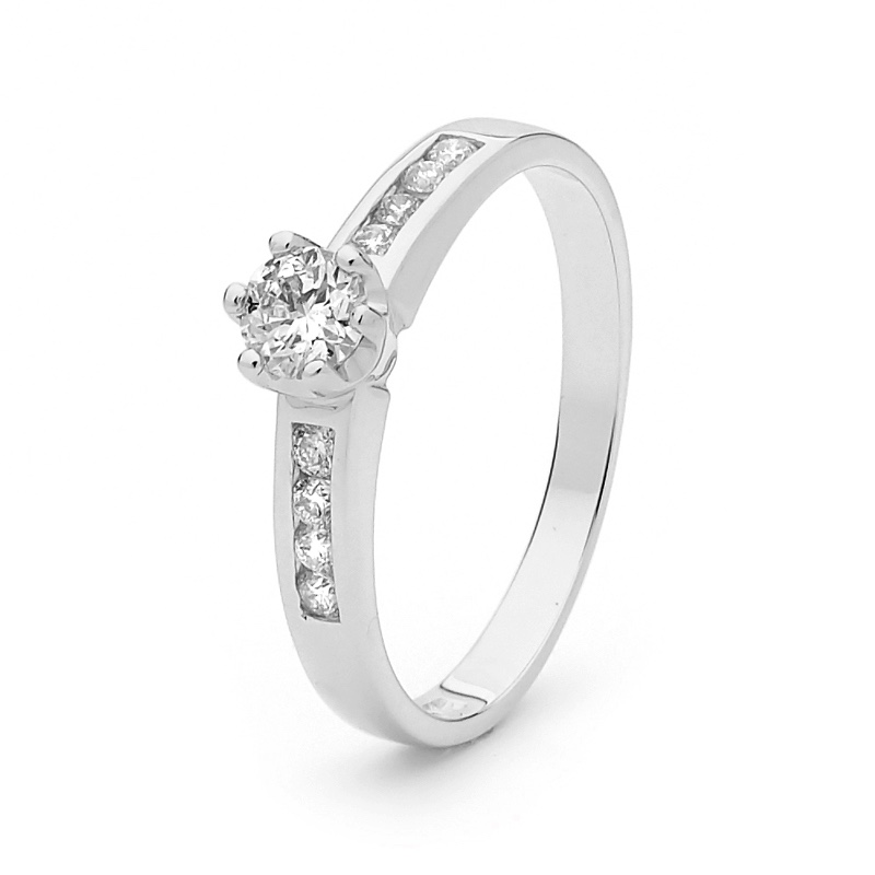 White Gold Engagement Ring - 0.46 Carat - June