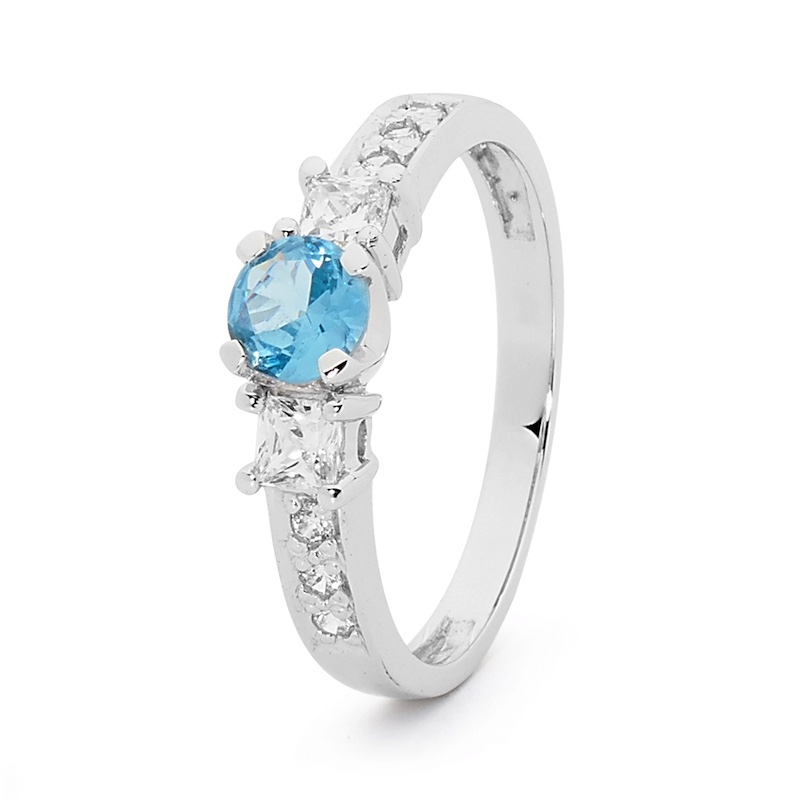 White Gold Pale Blue Zirconia Engagement Ring