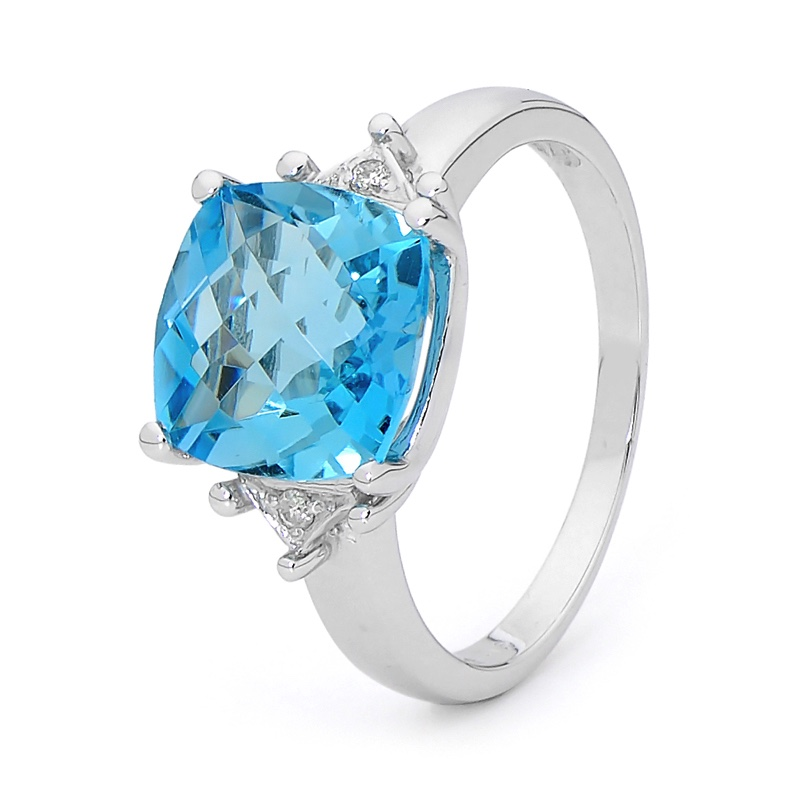 Blue Topaz and Diamond Dress Ring