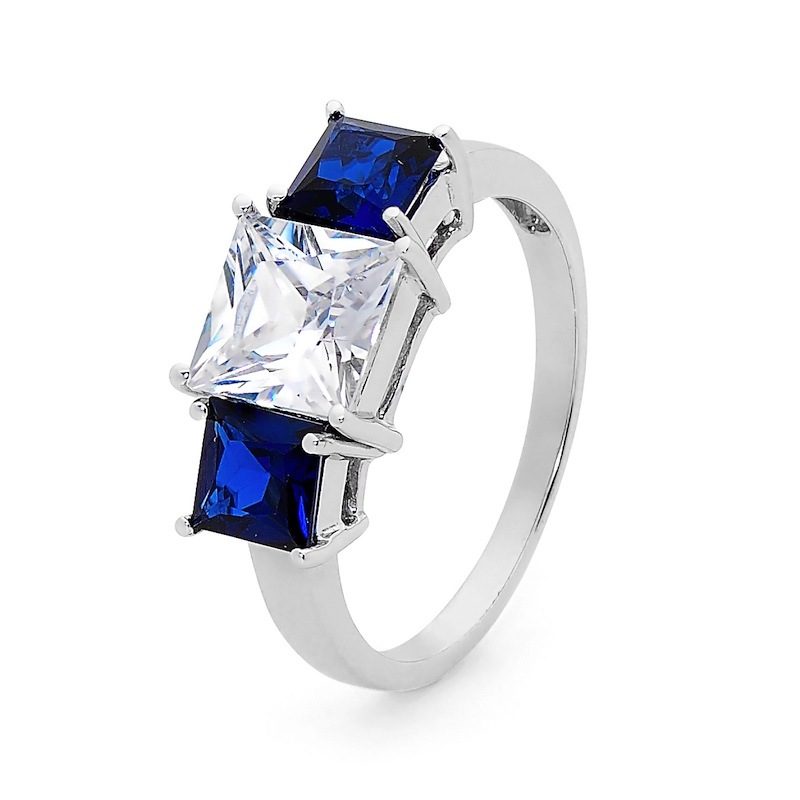 Sapphire and Cubic Zirconia Dress Ring