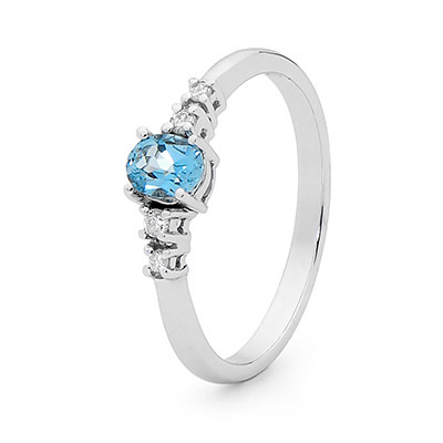 Blue Topaz Ring - White Gold - Diamond