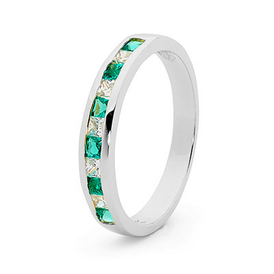 Emerald and CZ Eternity Ring - White Gold