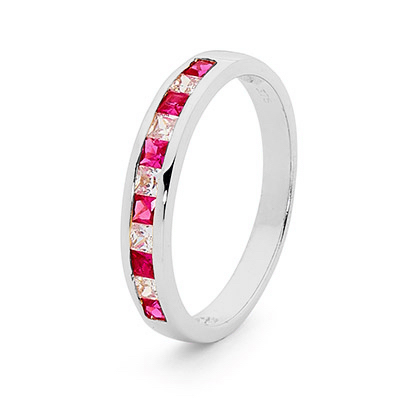 Ruby and CZ Eternity Ring - White Gold