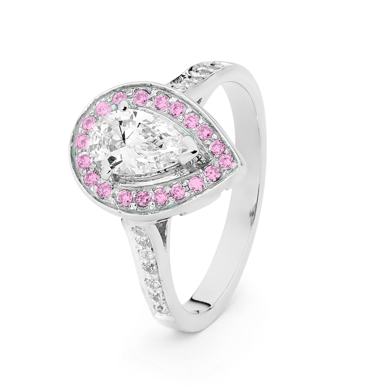 Teardrop CZ Engagement Ring in White with Pink Halo
