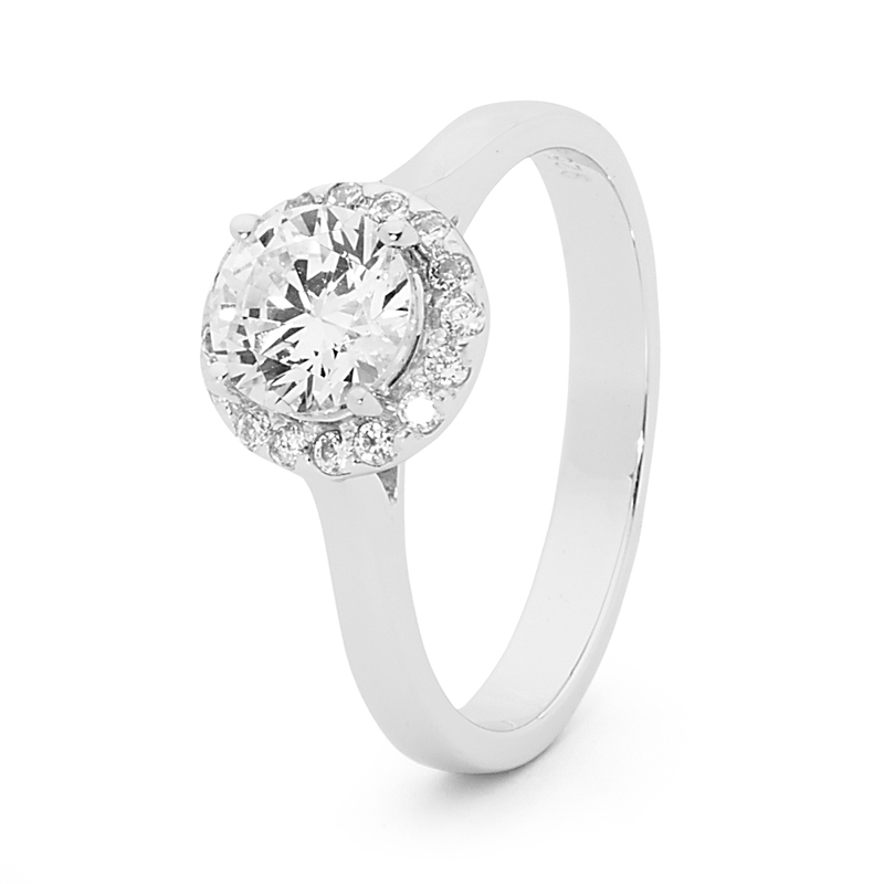Engagement Style Cubic Zirconia Ring with Halo
