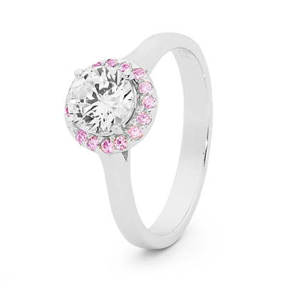 White and Pink Zirconia Halo Ring