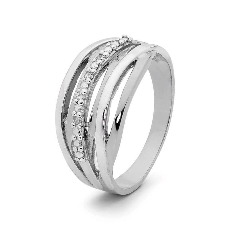 Layered White Gold right Hand Ring