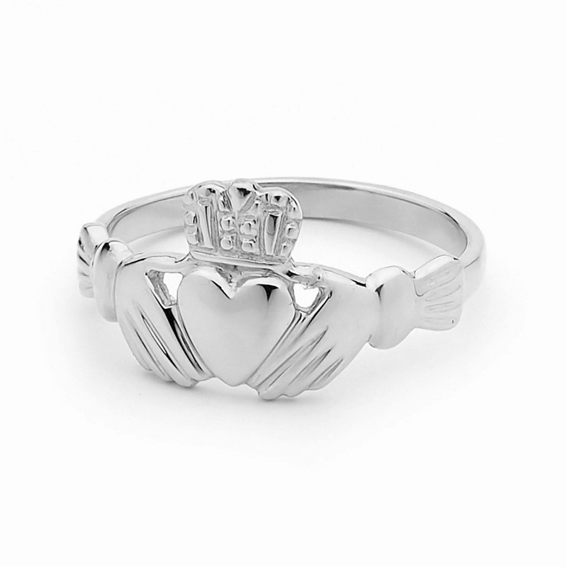 Irish Claddagh Ring - White Gold