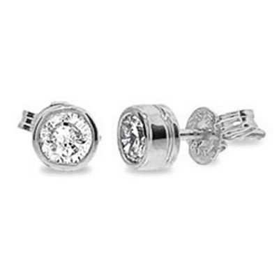 Diamond Bezel Set Studs in White Gold - TDW 0.14 Carat