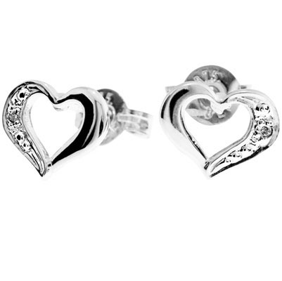 White Gold Diamond Heart Studs