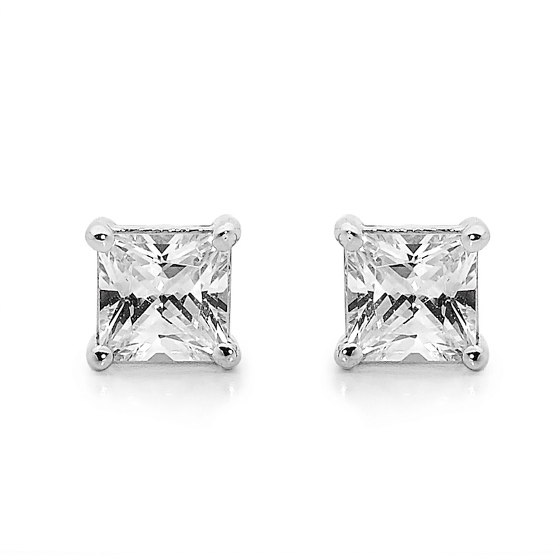 "Zirconia Solitaire Earrings ""White Gold"""
