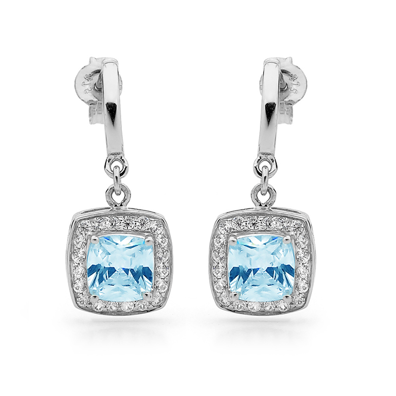 Blue Topaz Coloured Zirconia Earrings