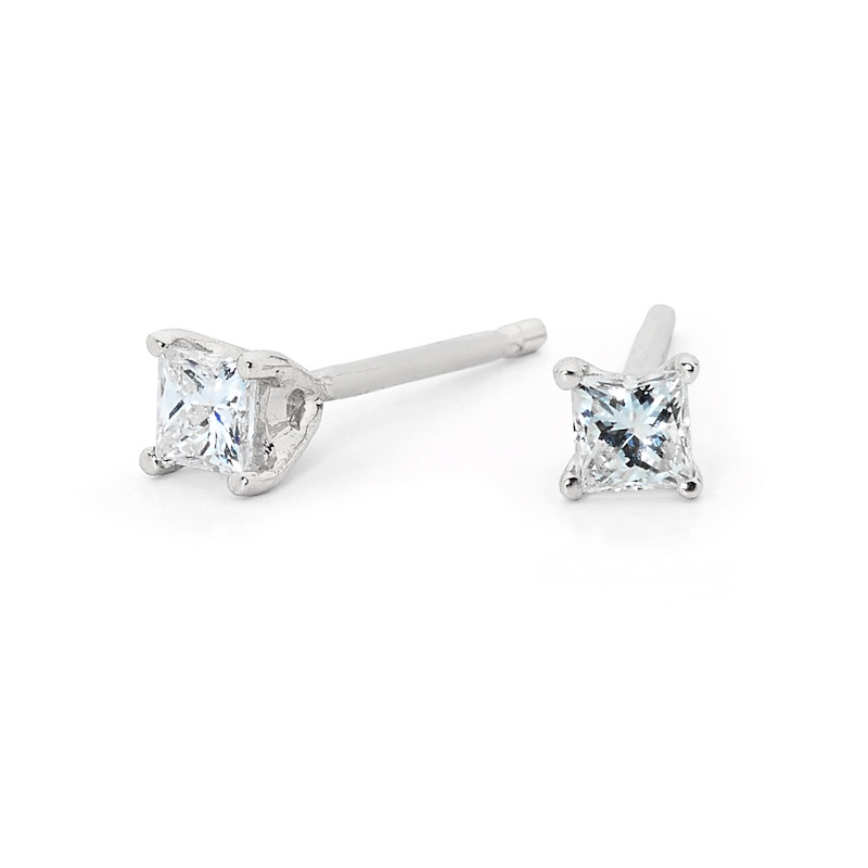 Princess Cut Diamond Studs - White Gold