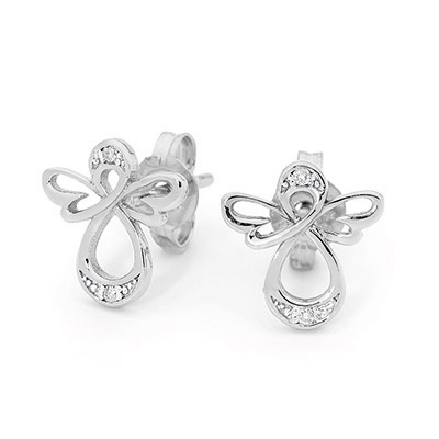 White Gold Angel Earrings with Diamonds