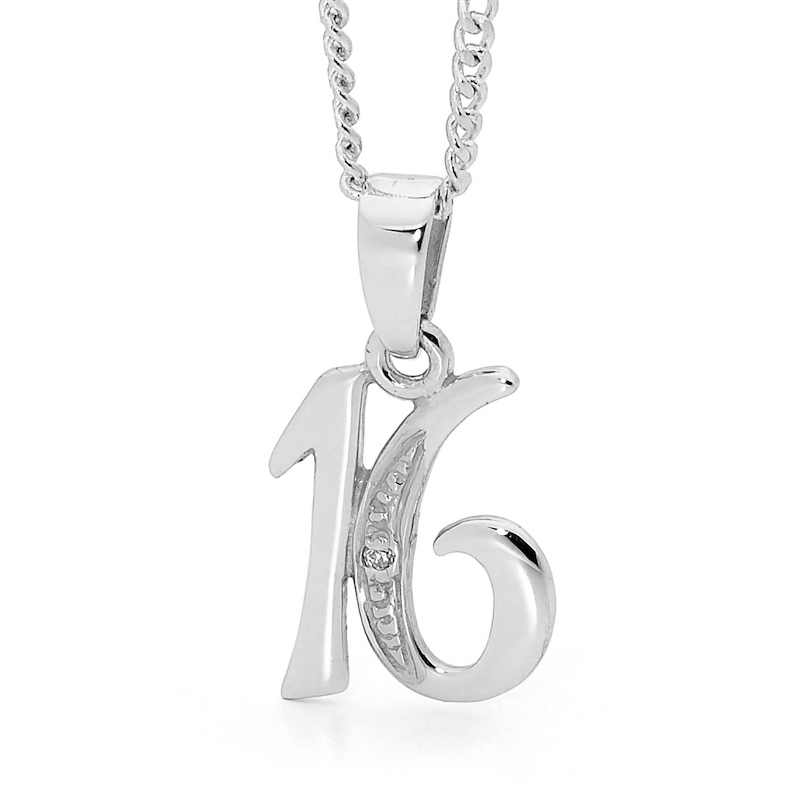 Diamond Set Pendant - 16th. Birthday