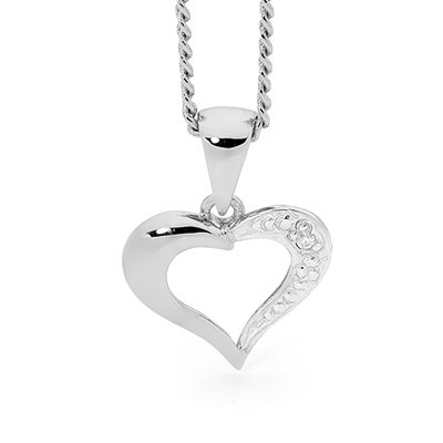 White Gold Diamond Set Heart Pendant
