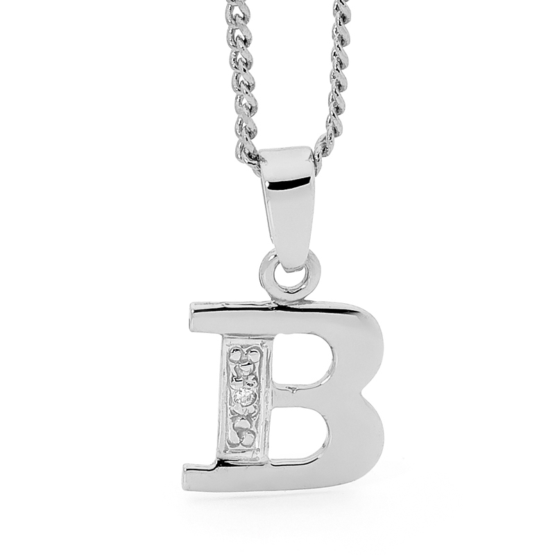 Diamond Set Initial B - White Gold